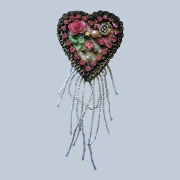 Signed Artisan Heart Brooch
