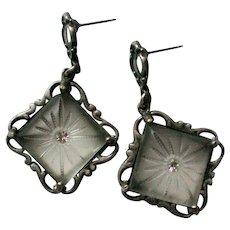 Camphor Glass Art Deco Pierced Earrings