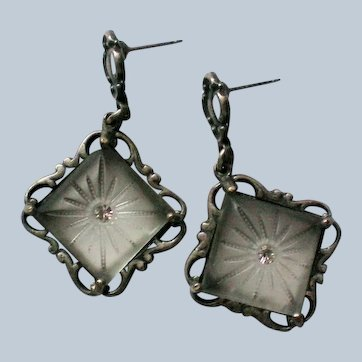 Camphor Glass Art Deco Pierced Earrings