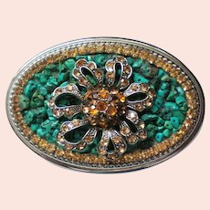 Glitzy Rhinestone and Turquoise Chip Western Belt Buckle