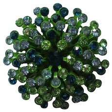 Sparkling Domed Sunburst Green Rhinestone Brooch