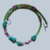 Chunky Turquoise Rock Crystals Artisan Necklace