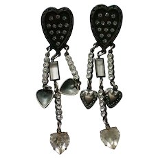 Triple Dangle Valentine Heart Pierced Earrings