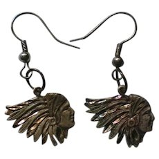 Native American Indian Head Sterling Silver Earrings