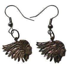Native American Indian Head Sterling Silver Earrings