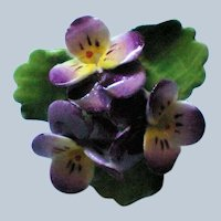 Porcelain Pansy Flower Brooch from Staffordshire in England