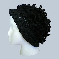 1940's Black Woven Ribbon Hat