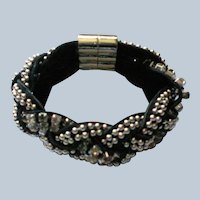 Woven Leather Bracelet with Silver tone Beads and Rhinestones