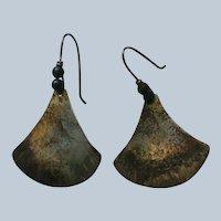 Sterling Silver Black Bead Pierced Dangle Earrings