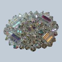 AB Crystal Beaded Oval Brooch