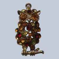 Wise Owl Rhinestone Studded Pendant