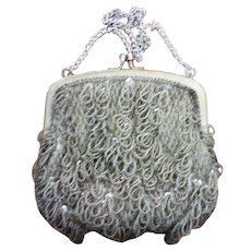 Walborg Silver Beaded Fringe Flapper Purse or Bag