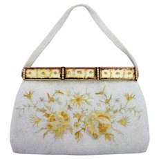 Hand Made French Micro Bead and Embroidery Purse