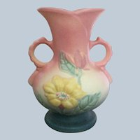 Hull Art Pottery Pink and Blue Magnolia Double Handled Vase