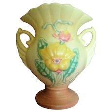 Hull Art Pottery Double Handled Fan Vase