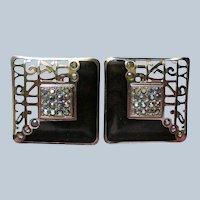 Edgar Berebi Black and Silver AB Square Earrings