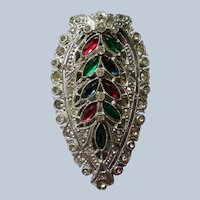 Art Deco Colored Rhinestone Fur or Dress Clip