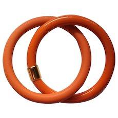 Early Plastic Orange Linked Bangle Bracelets