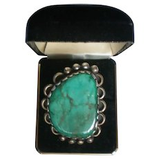 Large Natural Turquoise and Silver Ring marked Q