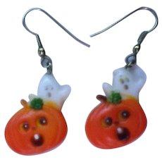 Jack-O-Lantern Pumpkin Ghost Earrings for Halloween