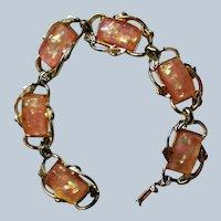 Signed Coro Lucite Confetti Glitter Orange Halloween Bracelet