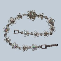 Delicate Snowflake Rhinestone Bracelet marked PD
