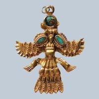 18K Gold Plated Turquoise Tribal Aztec God Pendant
