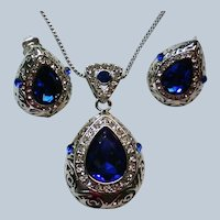 Electric Blue and Silver tone Pendant/Necklace and Earrings