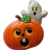 Halloween Pumpkin Jack-O-Lantern and Ghost Pin
