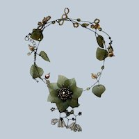 Beaded Flower and Leaves Necklace