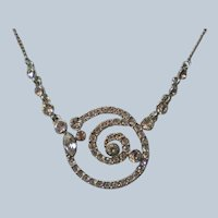 Silver Plated Givenchy Swarovski Crystals Swirl Pendant Necklace