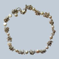 Freshwater Pearl and Dangle Silver tone Cluster Necklace