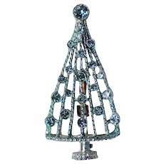 Sparkling Blue Rhinestone Christmas Tree Pin