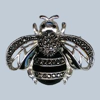 Marquisate Black and Silver Bee Pin