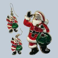 Santa Pin and Earrings for the Christmas Holidays
