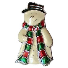Enameled Snowman Pin for the Winter Holidays