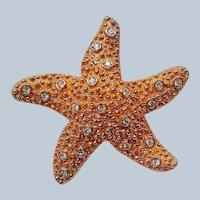 Swarovski Signed Gold Starfish Pin Brooch with Bezel Set Crystals