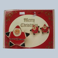 AAi Vintage Santa Pin and Earring Set for Christmas