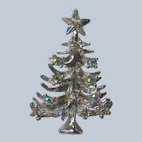 AB Rhinestone Silver tone Christmas Tree Pin