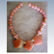 Chunky Lucite Salmon/Pink Beaded Necklace