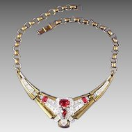 McClelland Barclay Necklace Ruby and Clear Crystal Rhinestones