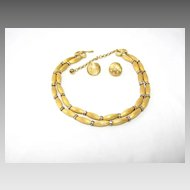 Dazzling Gold Tone and Rhinestone Necklace and Earrings Set