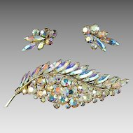 Huge Sherman Light Amethyst AB Brooch and Earrings Set
