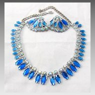 Signed Art Blue AB and Rhinestone Demi Parure