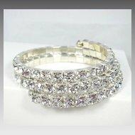 Dazzling Large Clear Rhinestone Stretch Bracelet