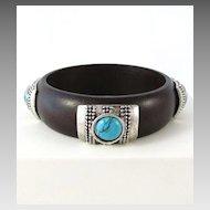 Wonderful Wooden Bangle Bracelet with Faux Turquoise