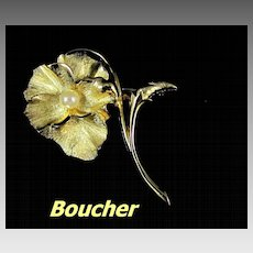 Marcel Boucher Cultured Pearl Pansy Brooch Pin