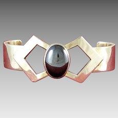 Vintage Sterling Silver & Hematite Cabochon Bracelet
