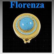 Vintage Florenza Faux Turquoise Pill Box