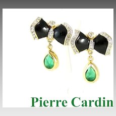 Dazzling Pierre Cardin Rhinestone & Enamel Drop Earrings